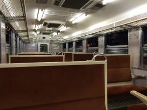 クモハ455形式電車の車内座席(鉄道博物館)