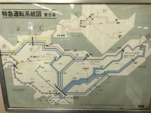 国鉄時代の特急系統図(鉄道博物館)