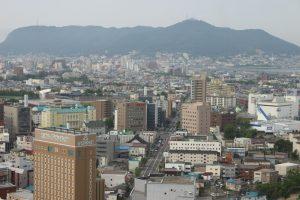 五稜郭タワーからみた函館山