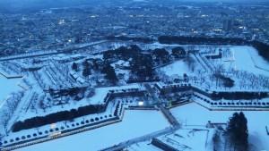 夕暮れ冬の五稜郭