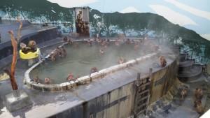函館で温泉に浸かる猿